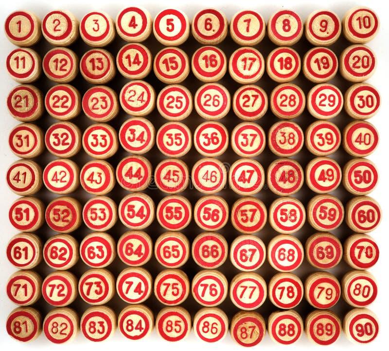 Ninety kegs for bingo. In ascending order royalty free stock photos