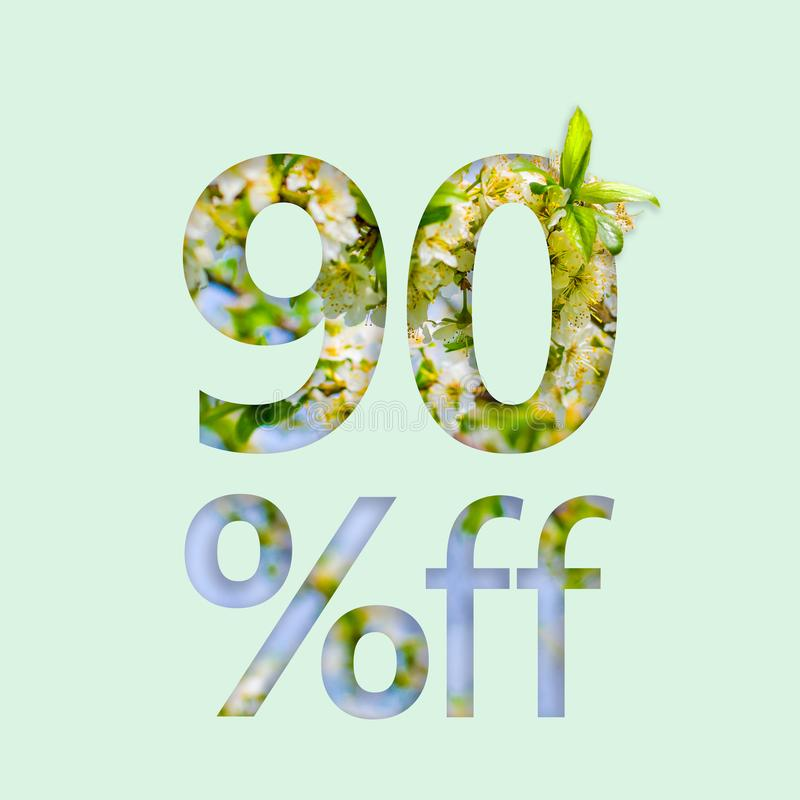 90% ninety percent off discount. The creative concept of spring sale, stylish poster, banner, promotion, ads. royalty free stock images