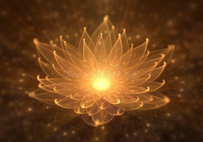 Ninfea, Lotus arancio radiante con i raggi di luce illustrazione vettoriale
