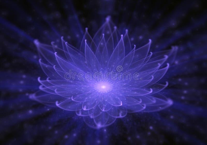 Ninfea, Lotus blu radiante con i raggi di luce illustrazione vettoriale