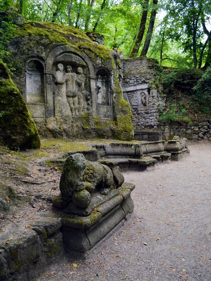 Ninfeo. A shot of the Parco dei Mostri (Park of the Monsters), in Bomarzo (Viterbo, Italy) that shows a sphinx and the Ninfeo on the royalty free stock images