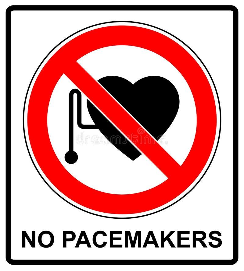 Ningún acceso con la muestra de los marcapasos cardiacos stock de ilustración
