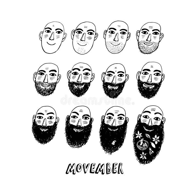 Ningún afeitado noviembre o ejemplo de Movember ilustración del vector
