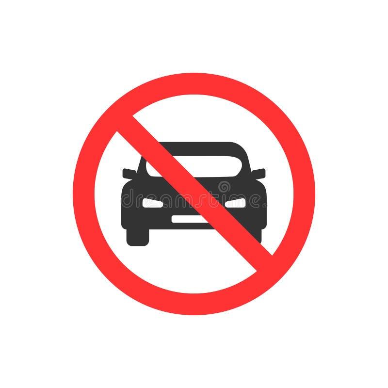 Ningún auto Estacionamiento prohibido, ejemplo del vector de la señal de tráfico ilustración del vector