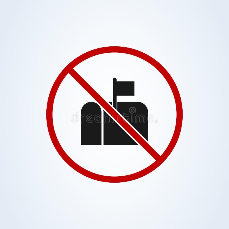 Ningún buzón permitió estilo plano prohibido del símbolo Icono del ejemplo del vector aislado en el fondo blanco libre illustration