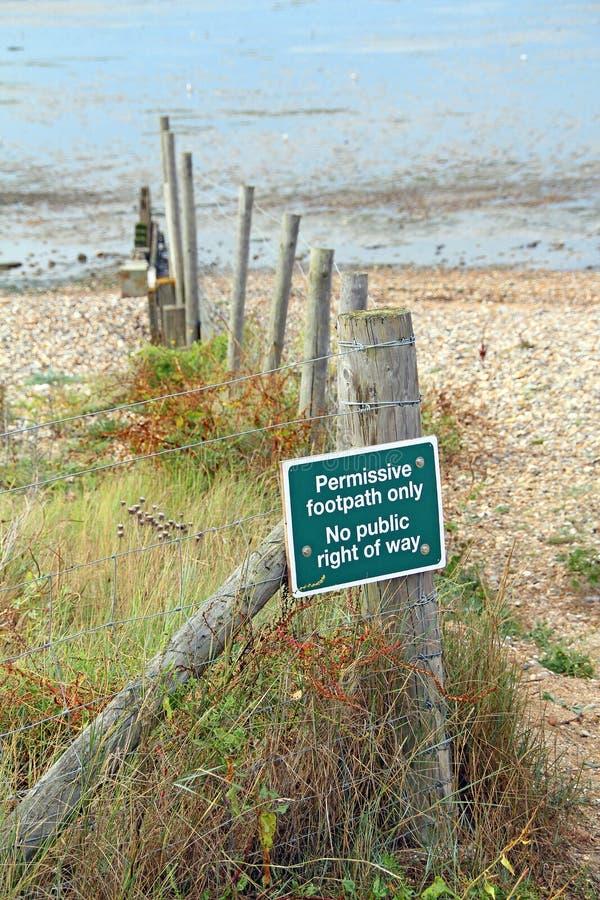 Ningún derecho de paso público en área de la playa fotos de archivo libres de regalías