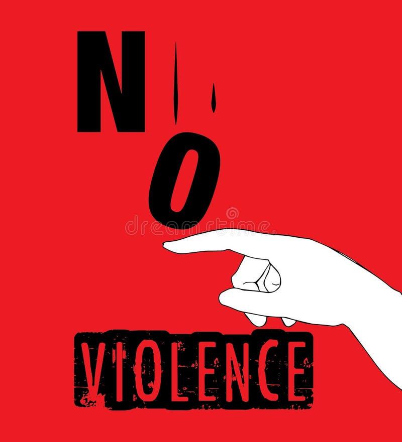 Ningún diseño del cartel de la protesta de la violencia ilustración del vector