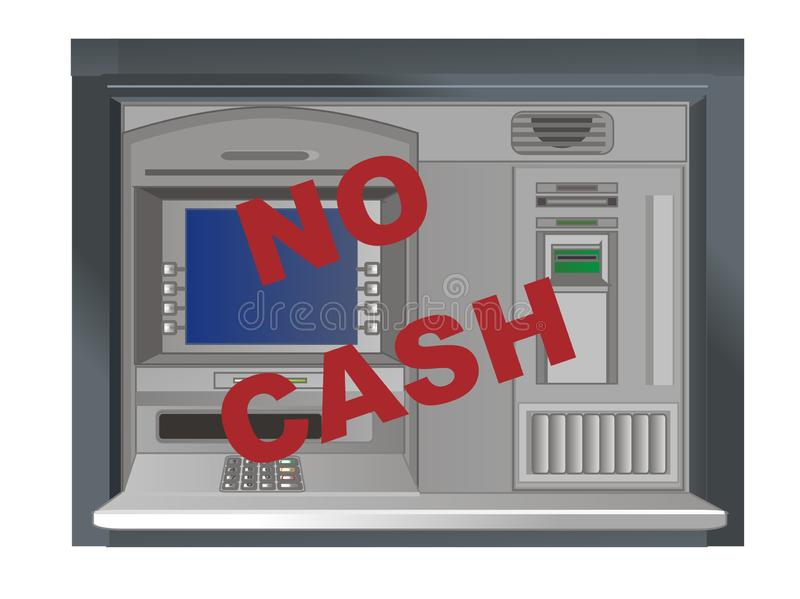 Ningún efectivo en cajero automático stock de ilustración