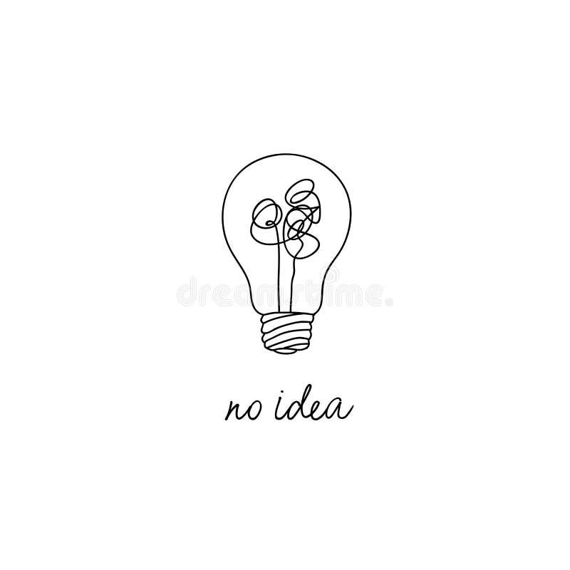 Ningún ejemplo complicado del concepto de la idea de la creatividad línea simple bombilla con diseño enredado del vector del hilo libre illustration