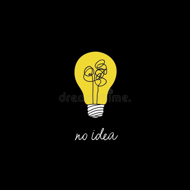 Ningún ejemplo complicado del concepto de la idea de la creatividad línea simple bombilla con el fondo amarillo y el hilo enredad stock de ilustración