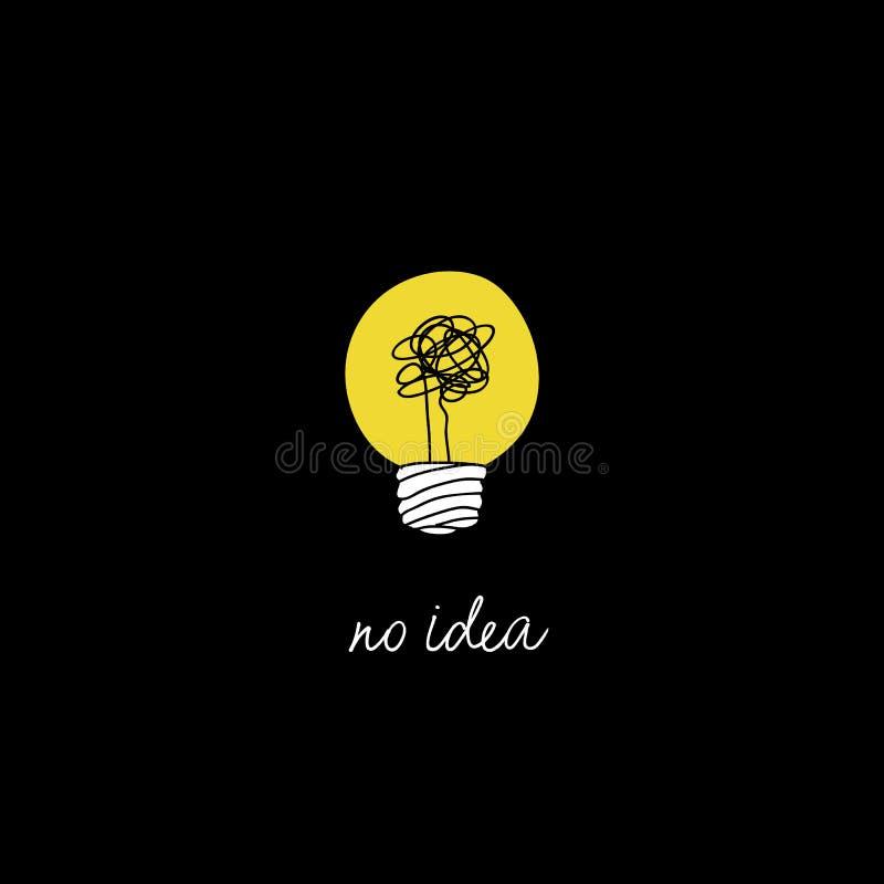 Ningún ejemplo complicado del concepto de la idea de la creatividad línea simple bombilla con el fondo amarillo y el hilo enredad ilustración del vector