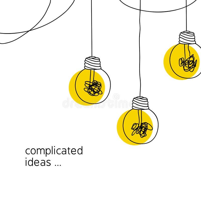 Ningún ejemplo complicado del concepto de la idea de la creatividad línea simple que cuelga la bombilla con el fondo amarillo y e ilustración del vector
