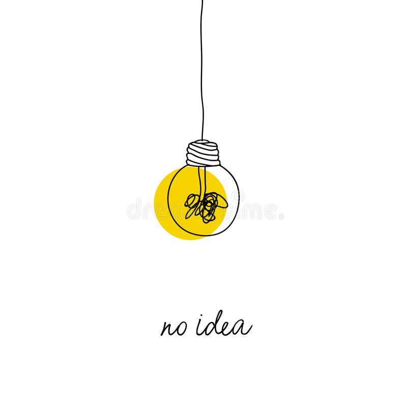 Ningún ejemplo complicado del concepto de la idea de la creatividad línea simple que cuelga la bombilla con el fondo amarillo y e stock de ilustración