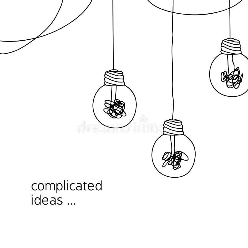Ningún ejemplo complicado del concepto de la idea de la creatividad línea simple que cuelga la bombilla con el fondo enredado del libre illustration