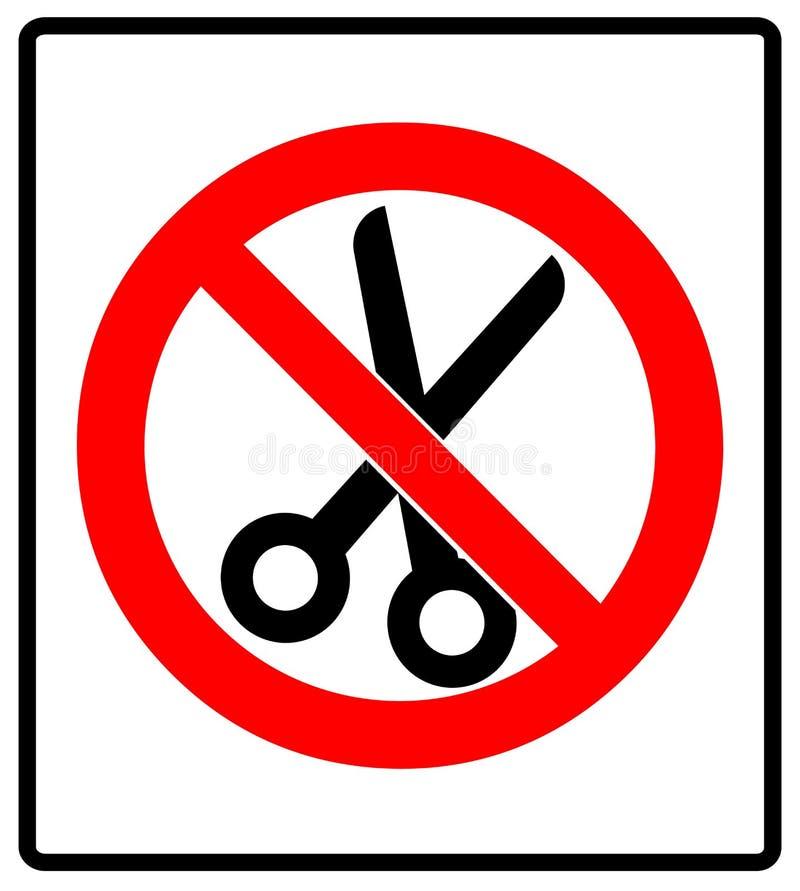 Ningún ejemplo del vector del icono de la muestra de la prohibición de las tijeras ilustración del vector