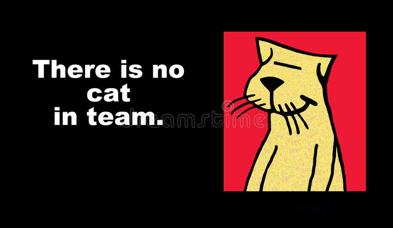 Ningún gato en equipo ilustración del vector