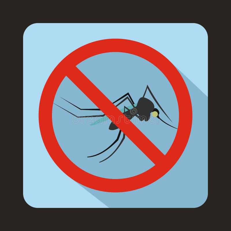 Ningún icono de la muestra del mosquito, estilo plano ilustración del vector