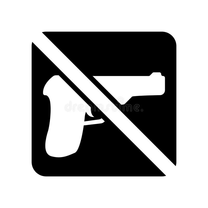 Ningún icono de las armas aislado en el fondo blanco, ningunas armas firma stock de ilustración