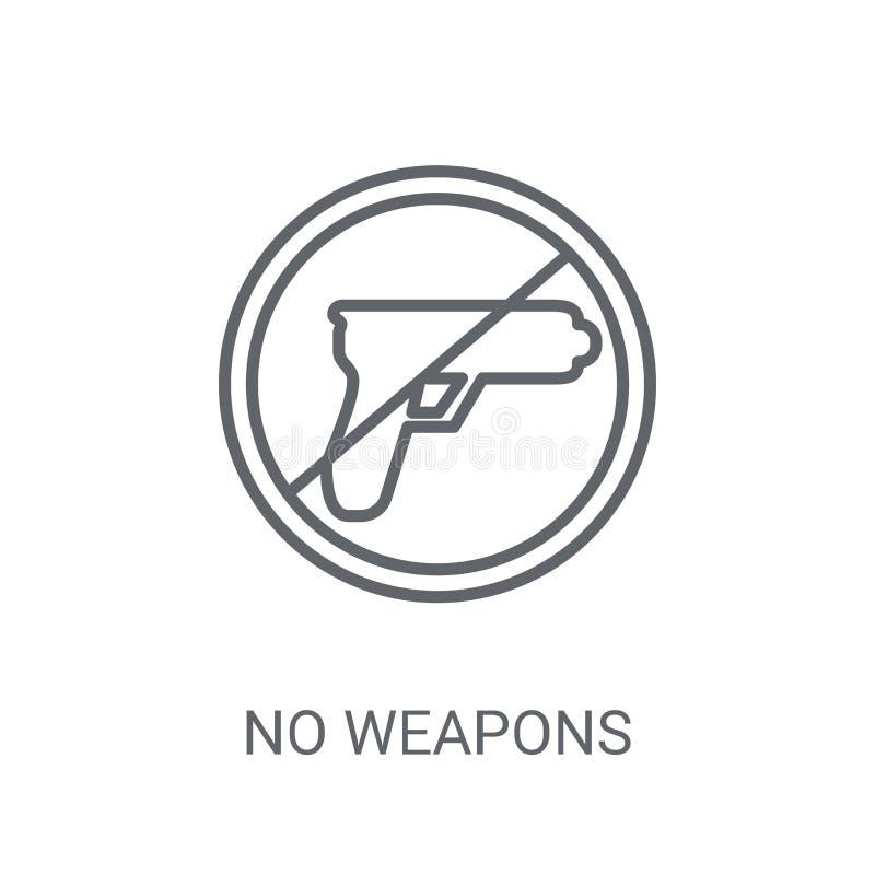 Ningún icono de las armas De moda ningún concepto del logotipo de las armas en el backgro blanco stock de ilustración