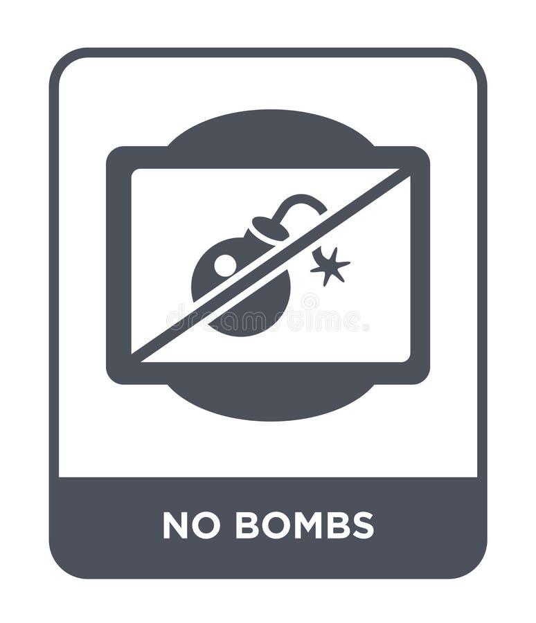 ningún icono de las bombas en estilo de moda del diseño ningún icono de las bombas aislado en el fondo blanco plano simple y mode ilustración del vector
