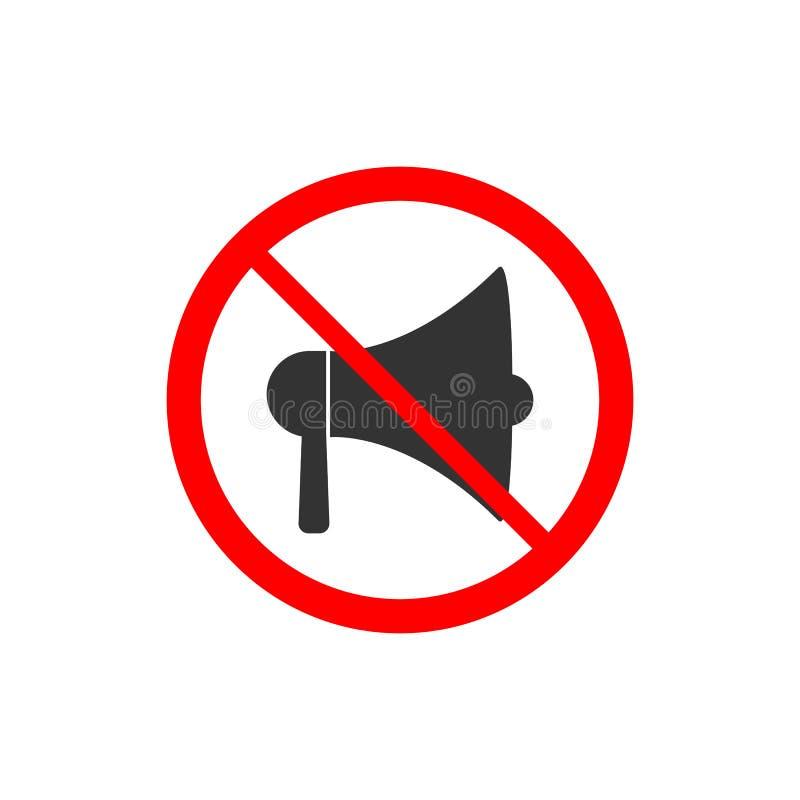 Ningún icono del megáfono Muestra prohibida Ninguna prohibición ruidosa de la música Ilustración del vector ilustración del vector