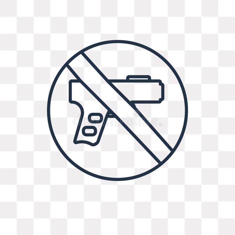 Ningún icono del vector de las armas aislado en el fondo transparente, linea libre illustration