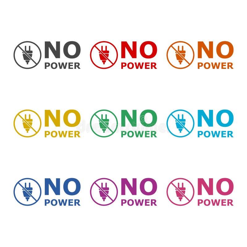 Ningún icono o logotipo, sistema del poder de color stock de ilustración