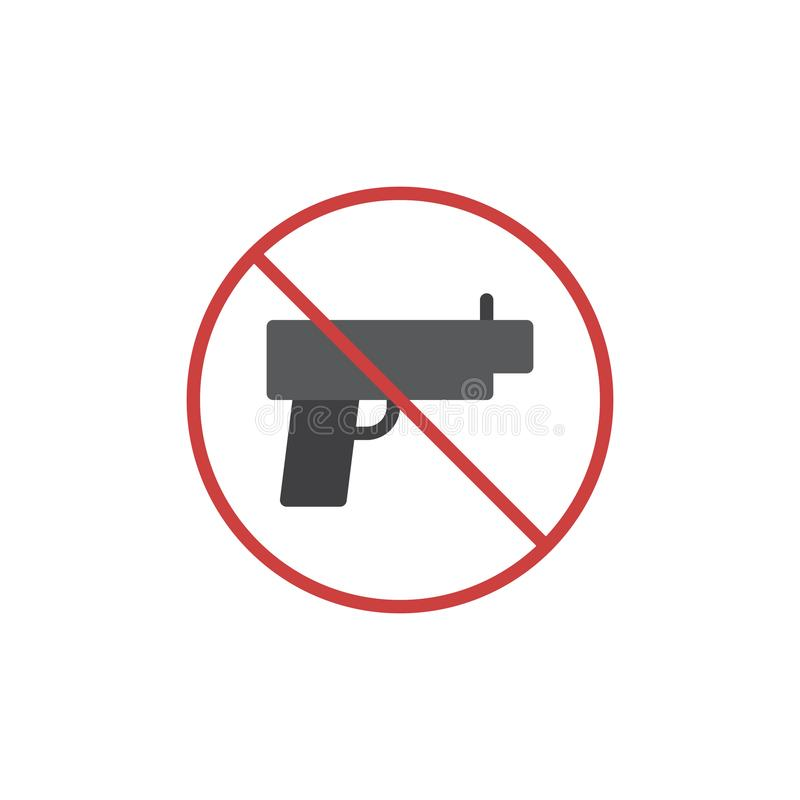 Ningún icono plano del arma de las armas stock de ilustración
