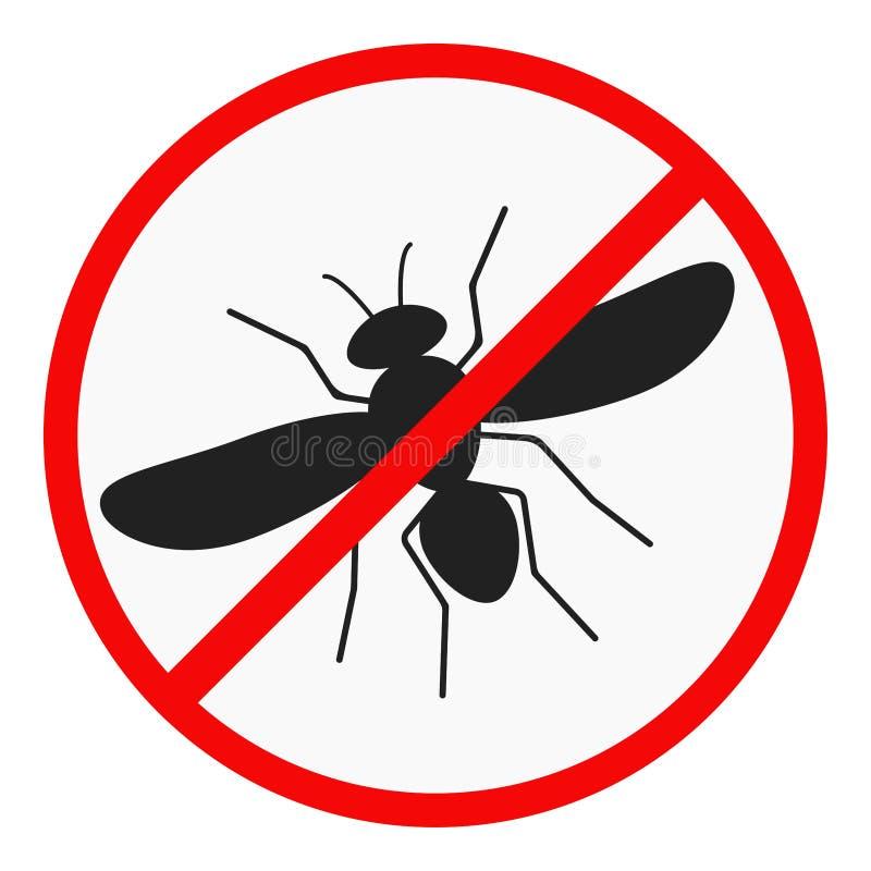 Ningún icono plano del diseño del mosquito aislado en el fondo blanco stock de ilustración