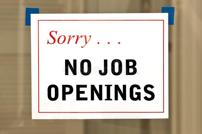 Ningún Job Openings Sign imagenes de archivo
