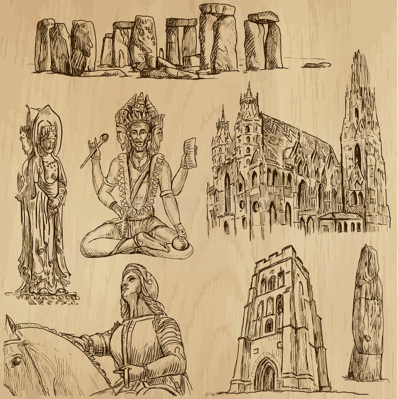 Ningún religioso 3 - Paquete del vector, dibujos de la mano ilustración del vector