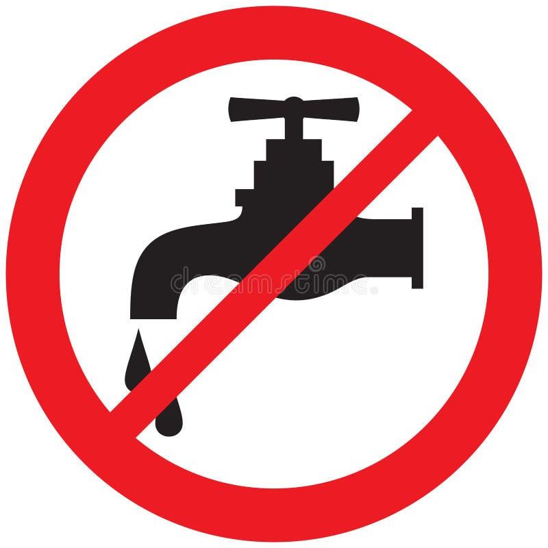 Ningún símbolo del golpecito de agua ilustración del vector