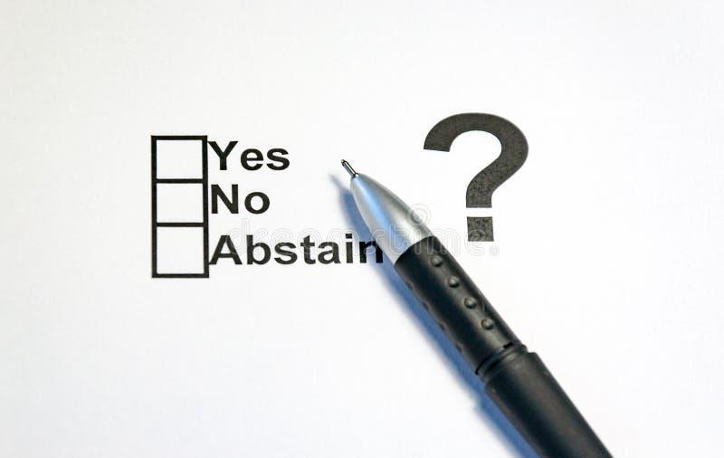Ningún se abstiene sí la bandera de la caja de control Elecciones, referéndum, people& x27; opción de s fotografía de archivo libre de regalías