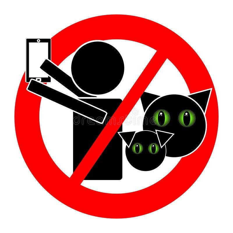 Ningún selfie con el icono de los animales aislado en el fondo blanco libre illustration