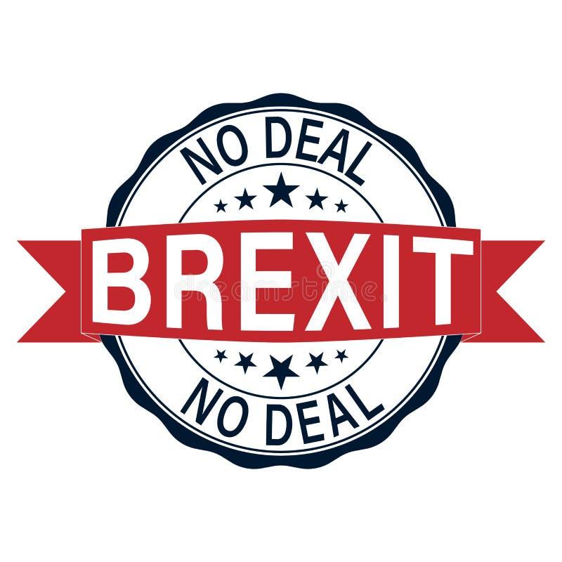 Ningún sello de goma rojo de la tinta de Brexit del trato en un fondo blanco ilustración del vector