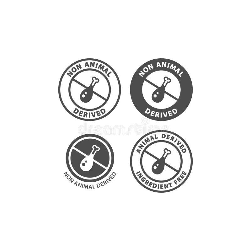 Ningún sistema derivado animal del icono de la etiqueta del círculo del ingrediente alimentario libre illustration