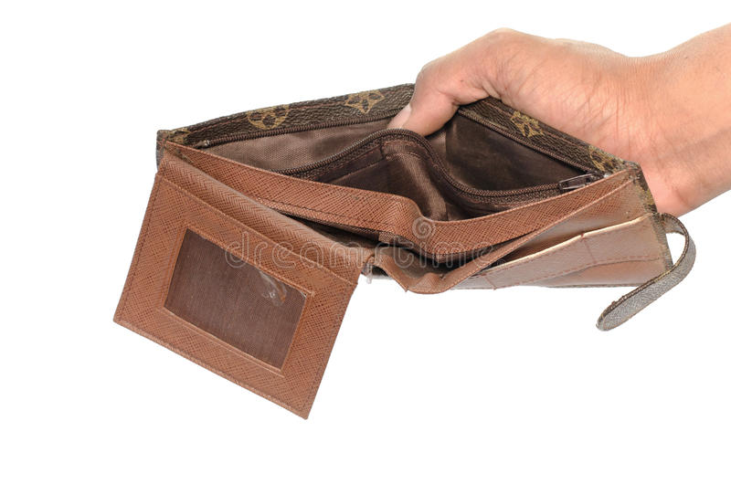 Ningún tenga dinero en la cartera aislada en el fondo blanco foto de archivo libre de regalías