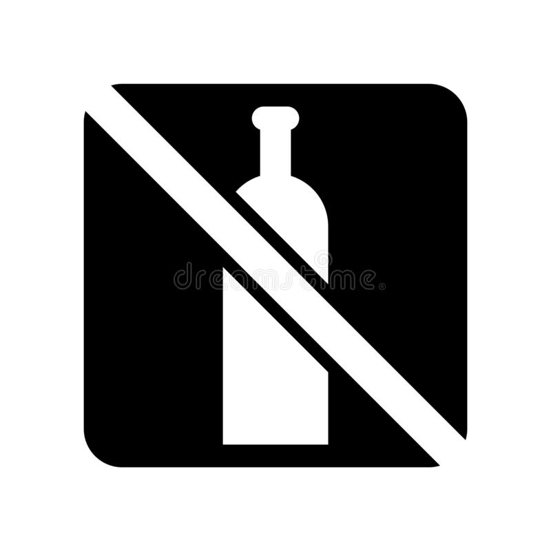 Ningún vector aislado en el fondo blanco, ninguna muestra del icono del alcohol del alcohol libre illustration