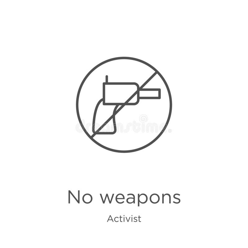 ningún vector del icono de las armas de la colección del activista Línea fina ningún ejemplo del vector del icono del esquema de  ilustración del vector