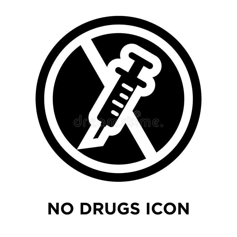 Ningún vector del icono de las drogas aislado en el fondo blanco, concepto del logotipo ilustración del vector