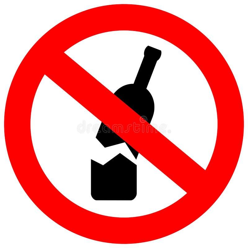 Ningún vidrio o botellas permitió en esta área libre illustration
