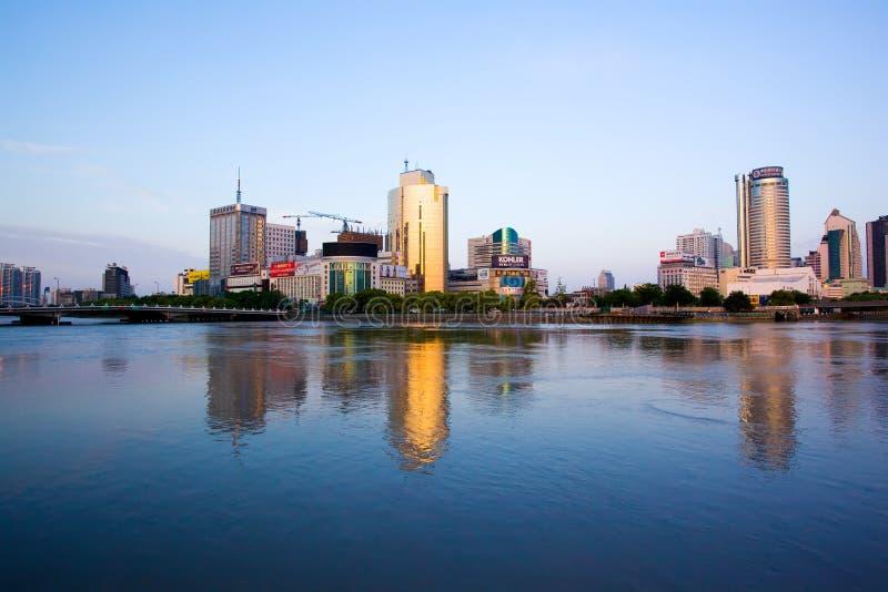 Ningbo city at morning royalty free stock photos