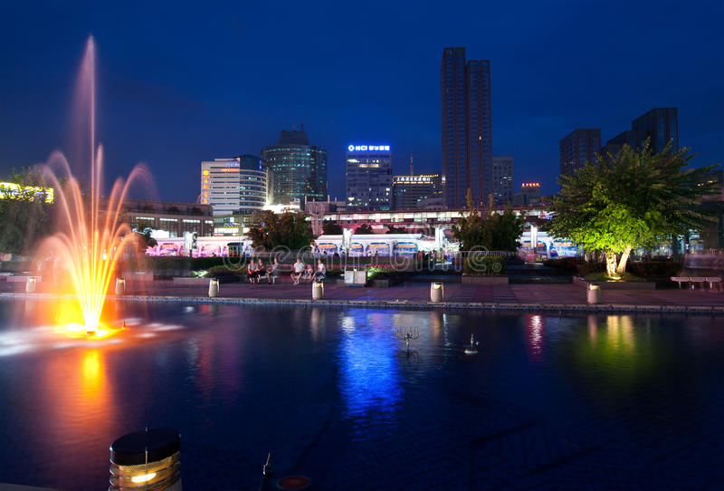 Ningbo city at night. China. NINGBO, CHINA- SEP 10: Tianyi Square at dusk on SEP 10, 2010 in Ningbo city centre, Zhejiang Province, China. Ningbo is regarded as stock photos
