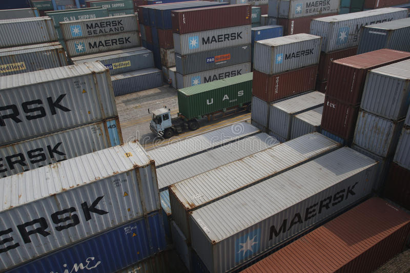 Shipping port. A view of the container pool in a port in Ningbo in east Chinas Zhejiang province stock images