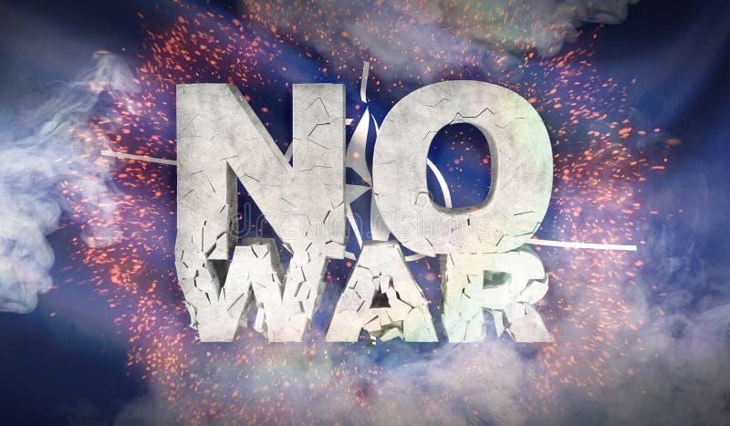 Ningún concepto de la guerra La bandera de la OTAN de la Organización del Tratado del Atlántico Norte ilustración 3D ilustración del vector