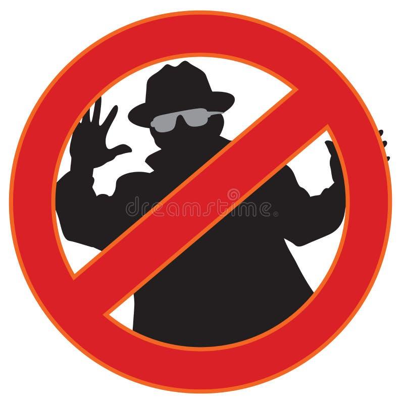 Ningún símbolo del spyware ilustración del vector