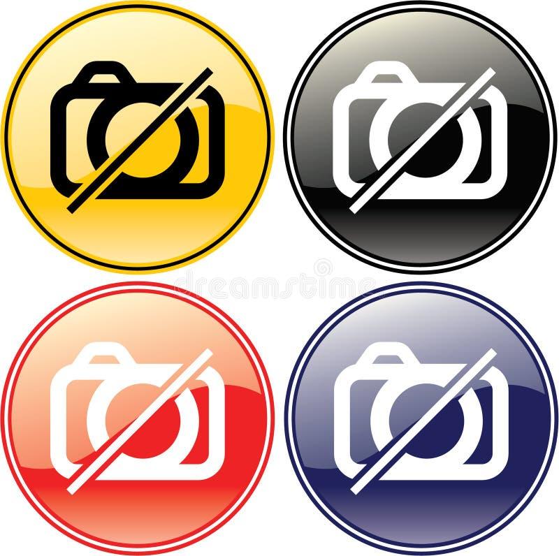 Ningún símbolo permitido cuadro de la muestra de la escritura de la etiqueta de la cámara ilustración del vector