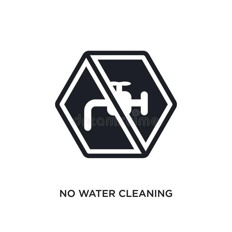 ninguna agua que limpia el icono aislado ejemplo simple del elemento de iconos de limpieza del concepto ninguna agua que limpia l libre illustration
