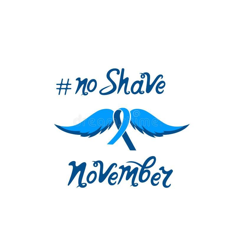 Ninguna inscripción dibujada mano de motivación del afeitado Una cinta azul con un bigote Concepto del mes de la conciencia del c stock de ilustración