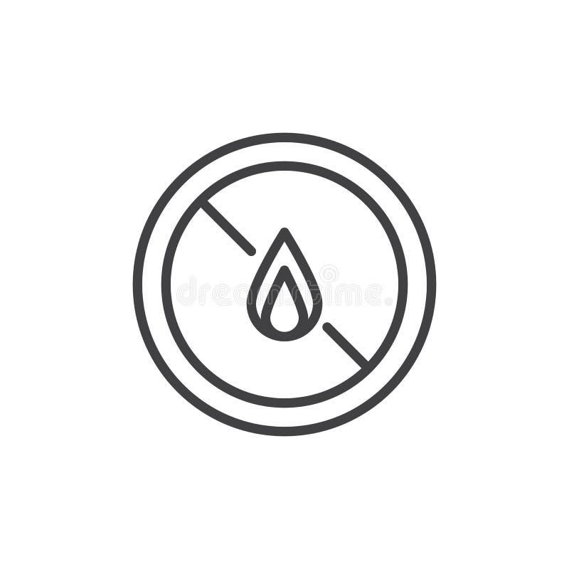 Ninguna línea icono de los líquidos inflamables de la exposición libre illustration